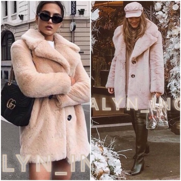f6f86aa1 Zara Jackets & Coats | Pink Nude Faux Fur Coat With Lapel Collar ...